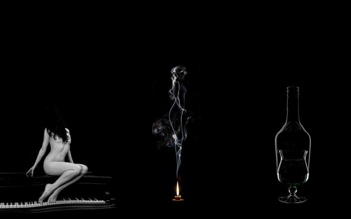 stilllife fr forwallpaper com 227796__black-white-woman-a-piano-candle-fire-smoke-a-glass-bottle-glass-still-life_p