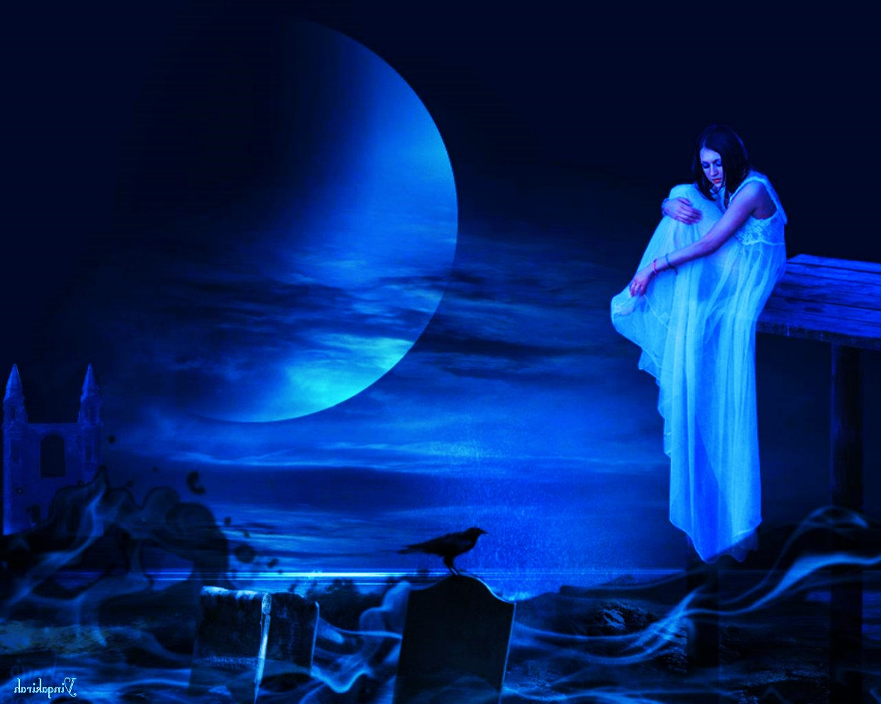 blue hdwallpapers cat dark_evening_moon_grave_fantasy_woman_night_hd-wallpaper-1757293