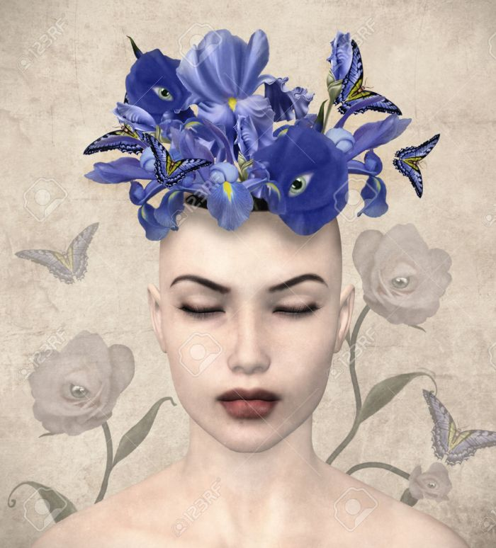placeofbeauty-vintage-portrait-of-a-woman-with-surreal-flowers-in-her-mind-stock-photo