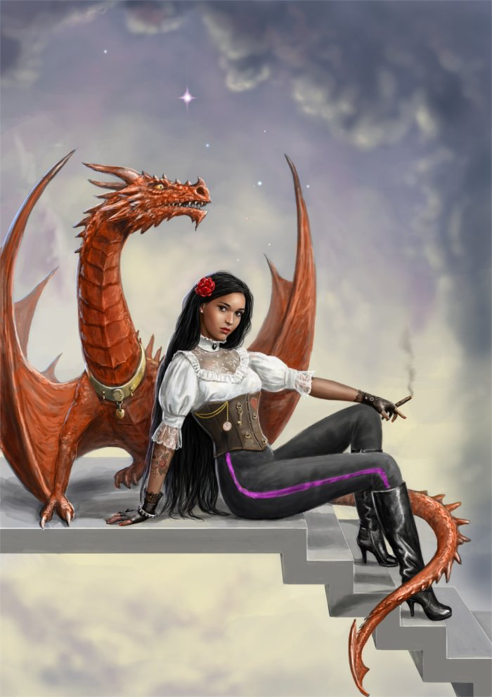 dragon egg woman_and_dragon_on_stairs_by_dashinvaine-d7r7hsm
