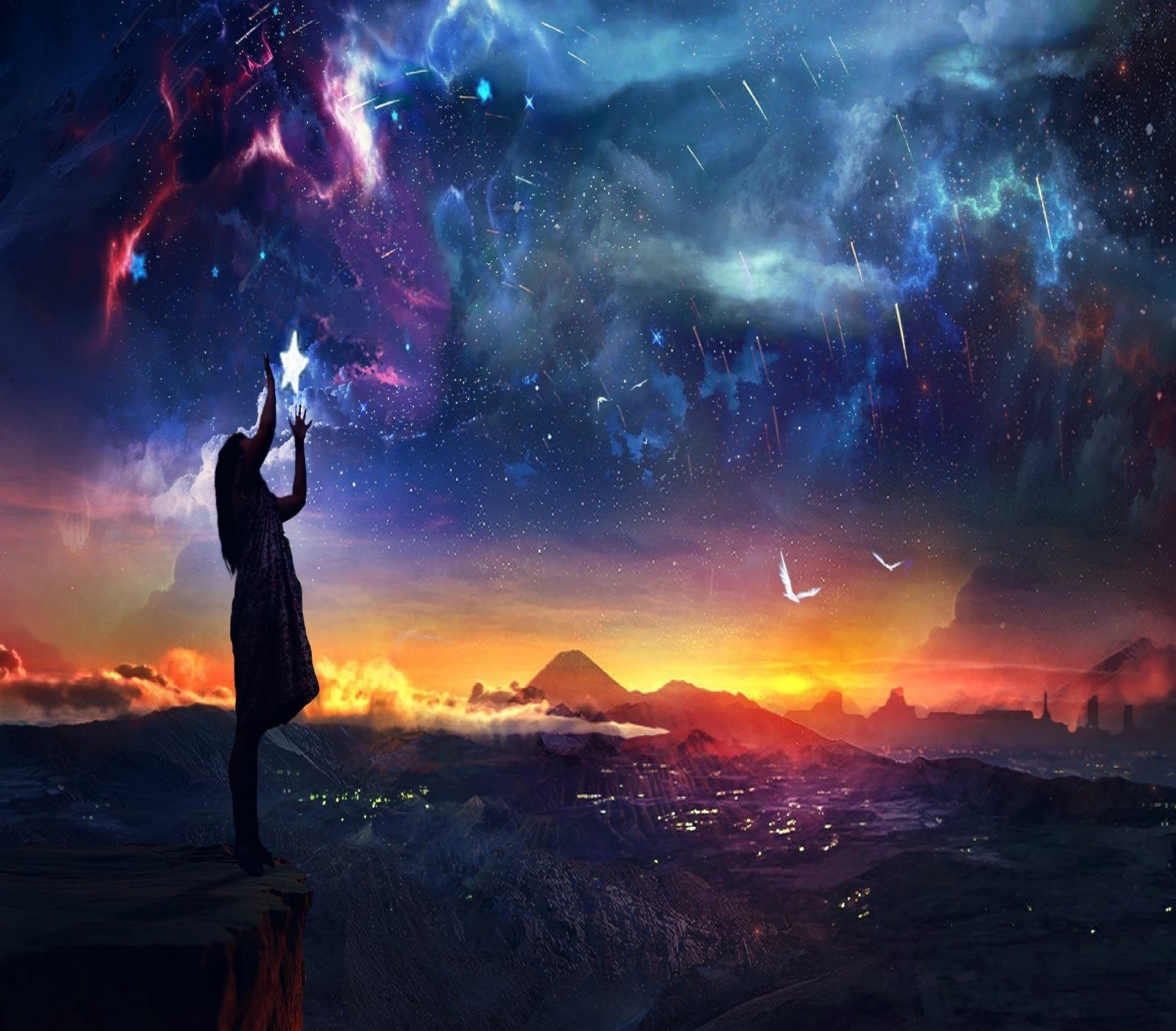 Return to the stars zastavki com Fantasy_Woman_straightens_stars_in_the_sky_098460_